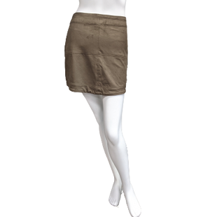 Skirt by Mudpie Size 4 - BRAND: MUDPIE . STYLE: NWT FAUX SOFT SUEDE LIKE MINI SKIRT, MULTIPLE PANELS, SOFT STRETCH WITH ZIPPER OPENING. COLOR: BROWN/BEIGE. SIZE: 4 (SMALL). SKU: 40321011212.