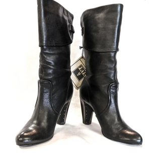 Boots by Frye Size 6.5 - BRAND: FRYE. SIZE: 6.5. STYLE: LEATHER, FOLD OVER KNEE HIGH, STUD DETAIL ON HEEL. COLOR: BLACK. SKU: 40321020349.