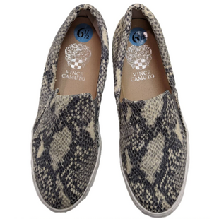 Sneakers by Vince Camuto Size: 6.5 - BRAND: VINCE CAMUTO. SIZE: 6.5. STYLE: SLIP ON SNEAKERS, SNAKESKIN DETAIL. COLOR: TAN, BROWN, BLACK. SKU: 40321024292.