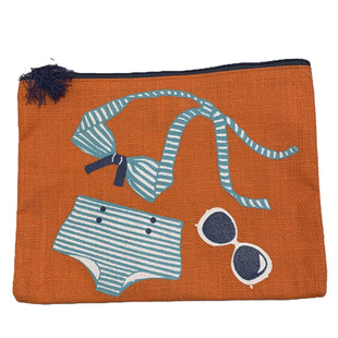 Clutch by Mudpie - BRAND: MUDPIE. STYLE: LARGE CLUTCH. COLOR: ORANGE, BLUE AND WHITE. SIZE: LARGE. SKU: 40321012043.