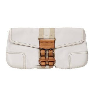 Clutch by Tommy Hilfiger Large - BRAND: TOMMY HILFIGER . STYLE: ENVELOPE. COLOR: IVORY, BROWN. SIZE: LARGE. SKU: 40321015435U.