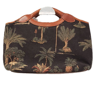 Designer Clutch by Tommy Bahama size Medium - BRAND: TOMMY BAHAMA. SIZE: MEDIUM. STYLE: CANVAS EMBROIDERED CLUTCH, VELCRO CLOSURE W/ 1 ZIPPERED COMPARTMENT AND ZIPPERED POCKET. LEATHER HANDLE AND TRIM. TROPICAL PATTERN. COLOR: BROWN, BLACK, GREEN, CREAM. SKU: 40321012255.