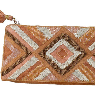Clutch by Mudpie Size Small - BRAND: MUDPIE. STYLE: CLUTCH. COLOR: PINK, GOLD AND CREAM. MATERIAL: BEADED ON THE FRONT, VELVET BACK. SIZE: SMALL. SKU: 40321012050.