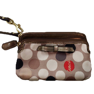 Wristlet Small by Coach - BRAND: COACH. STYLE: SMALL WRISTLET, CARDHOLDER W/ ZIPPERS BOW ACCENT. COLOR: BROWN, CREAM, ORANGE, BLACK. SKU: 40321022895.