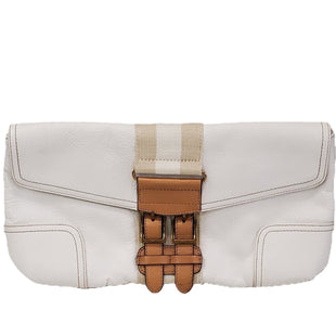 Clutch by Tommy Hilfiger Size Medium - BRAND: TOMMY HILFIGER. STYLE: METALLIC SNAP CLOSURE. COLOR: IVORY BROWN. SIZE: LARGE. SKU: 40321015435.