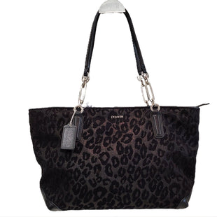 Designer Handbag by Coach size Large - BRAND: COACH. SIZE: LARGE. STYLE: CHEETAH WOVEN FABRIC, GLITTER THREAD, TOTE STYLE WITH ZIPPERED CLOSURE, . COLOR: BLACK. SKU: 40321022887.