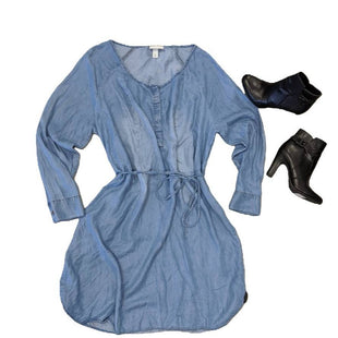 Dress Short Long Sleeve by Ava and Viv size 2X NWT - BRAND: AVA AND VIV. SIZE: 2X. STYLE: NWT LONG SLEEVED CHAMBRAY MINIDRESS W/ BELT AND BUTTON UP DETAIL. COLOR: BLUE. SKU: 40321010974.