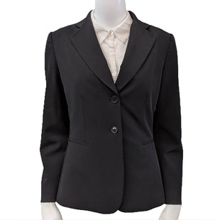 Blazer by Alex Marie size S - BRAND: ALEX MARIE. SIZE: 6 (S). STYLE: TUXEDO STYLE, TWO BUTTON WITH FAUX POCKETS. COLOR: BLACK. SKU: 40321014727.