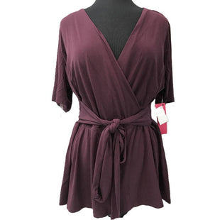 Top Short Sleeve by Lane Bryant Size 3X - BRAND: LANE BRYANT. STYLE: SHORT SLEEVE, PLUNGE NECK, CINCHED WAIST WITH ELASTIC, TIE AROUND WAIST, NEW WITH TAGS . COLOR: BURGUNDY. SIZE: 3X. SKU: 40321021938.
