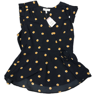 Shirt Short Sleeve by Monteau Size XL - BRAND: MONTEAU. SIZE: XL. STYLE: SHORT SLEEVE, PLUNGE NECK, PEPLUM, POLKA DOTS, NEW WITH TAGS. COLOR: NAVY, YELLOW. SKU: 40321015487.