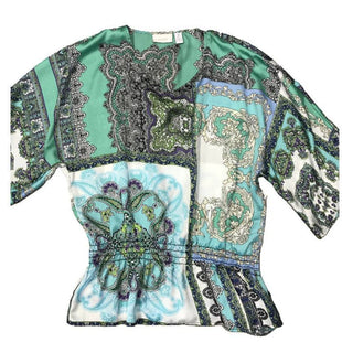 Shirt Short Sleeve by Chico's Size XL - BRAND: CHICO'S. SIZE: XL. STYLE: SHORT SLEEVE, FLOWY, CINCHED WAIST, PAISLEY PATTERN. COLOR: GREEN, WHITE, PURPLE. SKU: 40321008730.