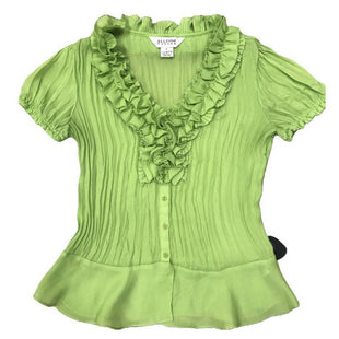 Shirt Short Sleeve by Allison Taylor Size S - BRAND: ALLISON TAYLOR. SIZE: SMALL. STYLE: RUCHED NECKLINE, SHORT SLEEVE WITH ELASTIC, PLEATED, BUTTON DOWN. COLOR: GREEN. SKU: 40321008068.