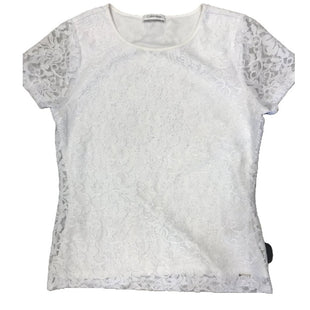 Shirt Short Sleeve by Calvin Klein Size S - BRAND: CALVIN KLEIN. STYLE: SHORT SLEEVE, LACE LAYER. COLOR: WHITE. SIZE: SMALL. SKU: 40321009515.