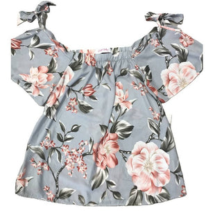 Shirt Short Sleeve by Charlotte Audrey Size S - BRAND: CHARLOTTE AUDREY. SIZE: SMALL. STYLE: SHORT SLEEVE, TIE SHOULDERS, FLORAL PATTERN, FLOWY . COLOR: BLUE, PINK. SKU: 40321000039.