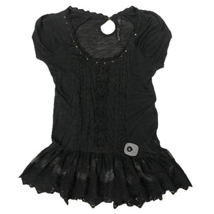 Shirt Short Sleeve by Jessica Simpson Size XS - BRAND: JESSICA SIMPSON. SIZE: XS. STYLE: SHORT SLEEVE, SEQUIN BORDER, EMBROIDERED DETAIL, SHEER, LACE BOTTOM . COLOR: BLACK. SKU: 40321003279.