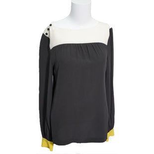 Shirt Long Sleeve by Kate Spade Size S - BRAND: KATE SPADE. STYLE: LONG SLEEVE SHIRT. COLOR: BLACK, CREAM. SIZE: SMALL.  SKU: 40321021051.