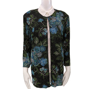 Dress Jacket by Alex Evenings size 2X - BRAND: ALEX EVENINGS. SIZE: 2X. STYLE: STRETCHY DRESS JACKET, WITH ONE CLASP AT THE NECK, GLITTER AND FLORAL PRINT, PADDED SHOULDERS. COLOR: BLACK, BLUE, GREEN, GLITTER. SKU: 40321014921.