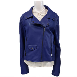 Leather Jacket by DKNY size XL - BRAND: DKNY. SIZE: XL. STYLE: LEATHER MOTO JACKET, WITH ASYMMETRICAL ZIP UP AND ZIP FRONT POCKETS. COLOR: ROYAL BLUE. SKU: 40321019319.
