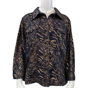 Jacket by Ruby Rd. Size 18 - BRAND: RUBY RD.. SIZE: 18W. STYLE: STRETCH COTTON BUTTON UP JACKET WITH BREAST POCKETS, ANIMAL PRINT. COLOR: NAVY, COPPER. SKU: 40321017814.
