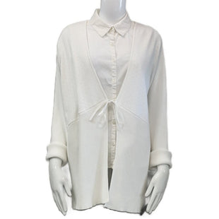 Sweater Cardigan Lightweight By Design Assets Women Size 2X - BRAND: DESIGN ASSETS WOMEN. SIZE: 2X. STYLE: OPEN FRONT WITH TIE AT WAIST. COLOR: WHITE. SKU: 40321022638.