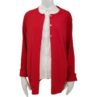 Sweater Cardigan Lightweight By Lands Ends Size XL - BRAND: LANDS ENDS. SIZE: EXTRA LARGE. STYLE: LIGHTWEIGHT LONG SLEEVE BUTTON DOWN CARDIGAN. COLOR: RED. SKU: 40321004695.