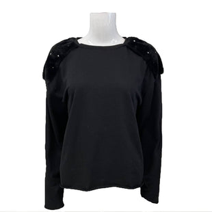 Sweater by Zara Trafaluc Size M - BRAND: ZARA TRAFALUC. STYLE: ROUND NECK WITH FAUX FUR ON SHOULDERS. COLOR: BLACK AND PEARLS. SIZE: MEDIUM. SKU: 40321016967.