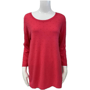Sweater by August Silk Size M - BRAND: AUGUST SILK. STYLE: ROUND NECK WITH MESH ON THE BOTTOM HALF OF THE BACK. COLOR: PINK. SIZE: MEDIUM. SKU: 40321025327.