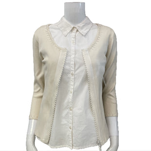 Sweater Cardigan Lightweight by Cache Size M - BRAND: CACHE. STYLE: ZIP UP CARDIGAN. COLOR: CREAM. SIZE: MEDIUM. SKU: 40321025544.