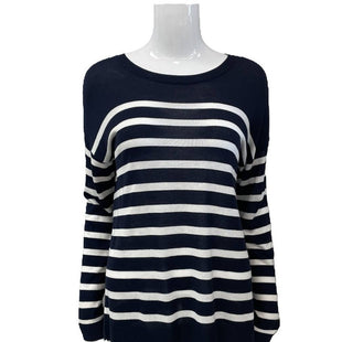 Sweater by a new day Size M - BRAND: A NEW DAY. STYLE: SHEER CREW NECK. COLOR: WHITE AND NAVY. SIZE: MEDIUM. SKU: 40321025880.