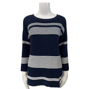 Sweater by Joseph A Size M - BRAND: JOSEPH A. STYLE: CREW NECK. COLOR: WHITE AND NAVY. SIZE: MEDIUM. SKU: 40321001469.