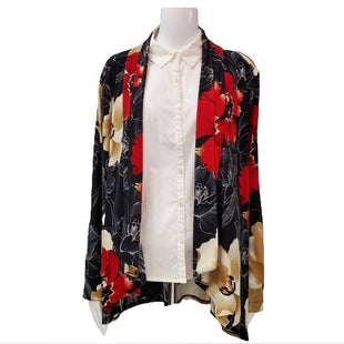 Sweater Cardigan Lightweight by Chico's Size L - BRAND: EASYWEAR BY CHICO'S. STYLE: LOOSE CARDIGAN OPEN FRONT, FLORAL PRINT. COLOR: BLACK, RED AND CREAM. SIZE: LARGE (CHICO'S 2). SKU: 40321018313.