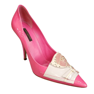 Designer Heels by Louis Vuitton size 39 - BRAND: LOUIS VUITTON. SIZE: (39 ITALY) 9 US. STYLE: HIGH HEEL POINTED TOE PUMP WITH FABRIC FLORAL DETAIL ON TOE, LIKE NEW CONDITION. COLOR: HOT PINK, BEIGE, CREAM, BLUSH. SKU: 40321029701.