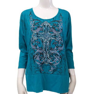 Top by Appropriate Behavior size L - BRAND: APPROPRIATE BEHAVIOR. SIZE: LARGE. STYLE: GRAPHIC TEE STYLE COTTON TOP, LONG SLEEVE CROSS DESIGN WITH CUTOUT AND TIE BACK. COLOR: TEAL, BLACK, GRAY. SKU: 40321009602.