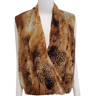 Top Sleeveless by Fate Size S - BRAND: FATE . SIZE: SMALL . STYLE: V-NECK WITH OPEN BACK. COLOR: BROWN AND BLACK LEOPARD. SKU: 40321022767.