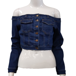 Top Long Sleeve by Fashion Nova size S - BRAND: FASHION NOVA . SIZE: SMALL. STYLE: OFF THE SHOULDER CROPPED DENIM SHIRT/JACKET, BUTTON DOWN. COLOR: BLUE DENIM, BROWN. SKU: 40321016841.