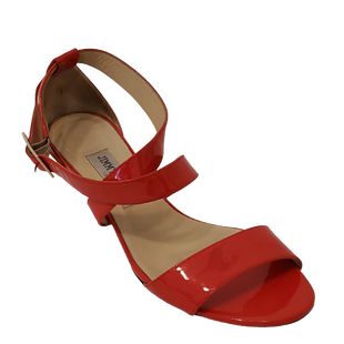 Sandals Low Heel by Jimmy Choo size 8 - BRAND: JIMMY CHOO. STYLE: WEDGE SANDALS WITH ANKLE STRAP. COLOR: RED. SIZE: 8. SKU: 40321001885. *SLIGHT DISCOLORATION ON LEATHER ON TOP STRAP, SEE PICTURES.