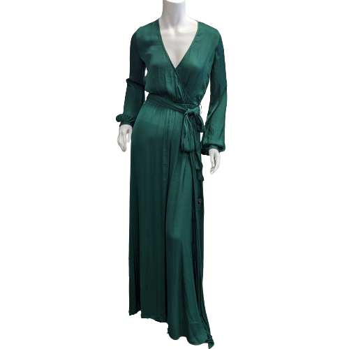 Dress Long Long Sleeve by Forever 21 size S - <P>BRAND: FOREVER 21</P> <P>SIZE: SMALL</P> <P>STYLE: V-NECK, BALLOON SLEEVES WITH CUFFED WRIST, FULL SKIRT WITH SIDE SLITS AND BELT</P> <P>COLOR: GREEN</P> <P>SKU: 40321026340</P>