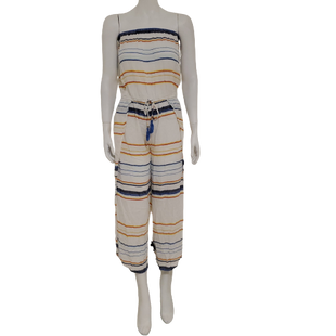 Romper Long Strapless by Blue Island Size S - BRAND: BLUE ISLAND. STYLE: STRAPLESS LONG ROMPER. COLOR: WHITE, BLUE, YELLOW, ORANGE AND RED. SIZE: SMALL. SKU: 40321028265.