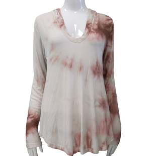 Top by Don't Ask Why size OS - BRAND: DON'T ASK WHY. STYLE: RIBBED TEE WITH HOODIE AND SCOOP NECK, TIE-DYE. COLOR: BEIGE, BROWN, PINK. SIZE: ONE SIZE. SKU: 40321012678.