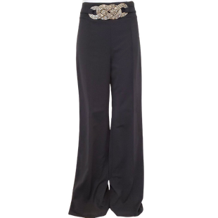Pants by Valentine Size L - BRAND: VALENTINE . STYLE: FLAT FRONT WITH BELT DETAIL AT WAIST. COLOR: BLACK AND SILVER. SIZE: LARGE. SKU: 40321017255.