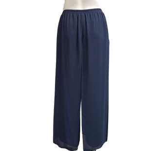 Pants by R&M Richards Size 18 - BRAND: R&M RICHARDS. STYLE: ELASTIC WAIST WITH CHIFFON OVERLAY. COLOR: NAVY. SIZE: 18 (2X). SKU: 40321017979.