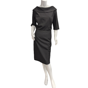 Dress Short by Alex Marie size XL - BRAND: ALEX MARIE. STYLE: FITTED DRESS WIDE NECK, 3/4 ZIP UP, KNEE LENGTH. COLOR: BLACK. SIZE: XL (16). SKU: 40321016181.