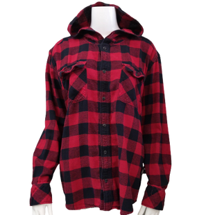 Top by TNA size L - BRAND: TNA. STYLE: PLAID BUTTON DOWN SHIRT WITH HOODIE. COLOR: RED, BLACK BUFFALO CHECK. SIZE: LARGE. SKU: 40321004848.