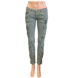 Jeans by Machine size 4 - BRAND: MACHINE. SIZE: 4. STYLE: CARGO JEANS WITH BOTTOM SIDE LEG ZIPPERS. COLOR: OLIVE. SKU: 40321006769.
