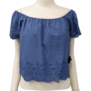 Short Sleeve Top by Japna size S - BRAND: JAPNA. SIZE: SMALL. STYLE: EYELET EMBROIDERY, THIN FABRIC AND ELASTIC NECKLINE. COLOR: BLUE. SKU: 40321021212.