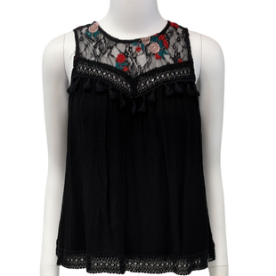 Sleeveless Top by Forever 21 size S - BRAND: FOREVER 21. SIZE: SMALL. STYLE: LACE NECK, TASSELS ON CHEST . COLOR: BLACK, RED. SKU: 40321017399.