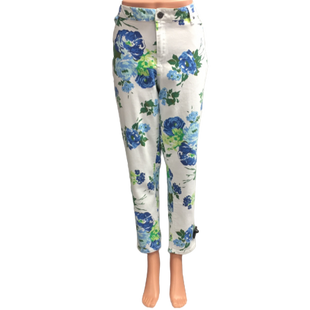 Jeans by Roz and Ali Size 14 - BRAND: ROZ AND ALI. STYLE: SKINNY JEANS. COLOR: WHITE, BLUE AND GREEN FLORAL. SIZE: 14. SKU: 40321013725.