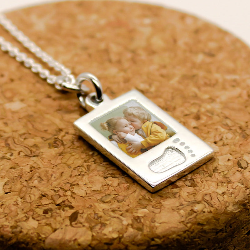 Sterling Silver Baby Foot Photo Charm