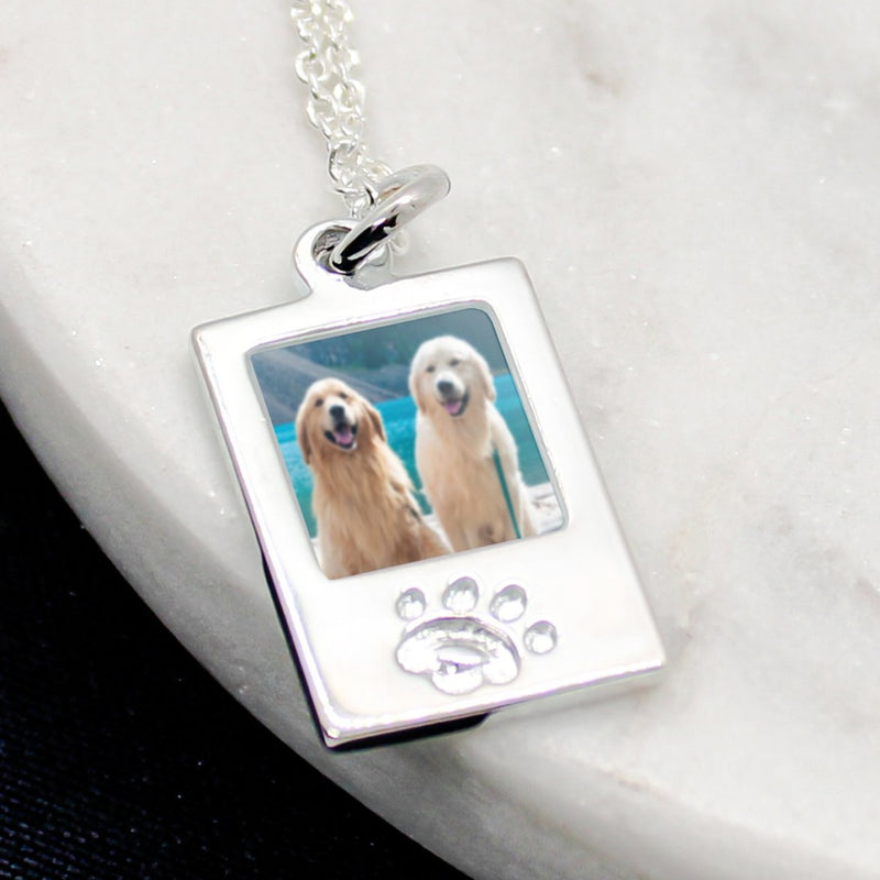 Sterling Silver Paw Photo Charm