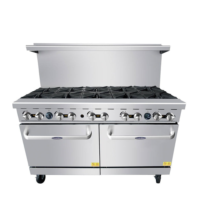 "Atosa ATO-10B 60"" Commercial Gas Range with 10 Open Burners and (2) 26.5"" Ovens - Summit Restaurant Supply"